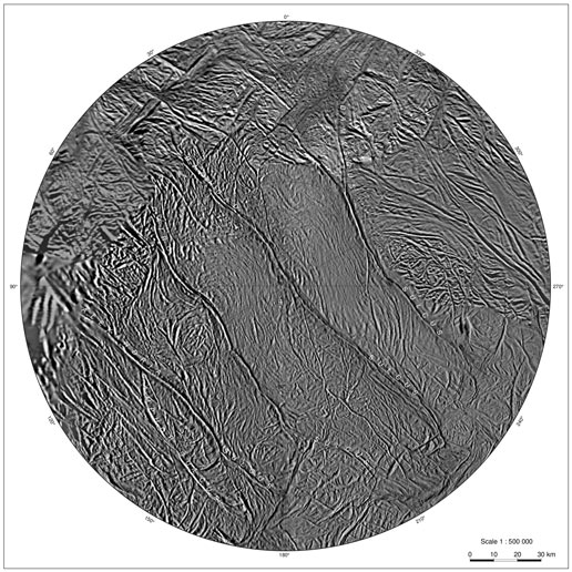 complete set of cartographic map sheets from a high-resolution Enceladus atlas