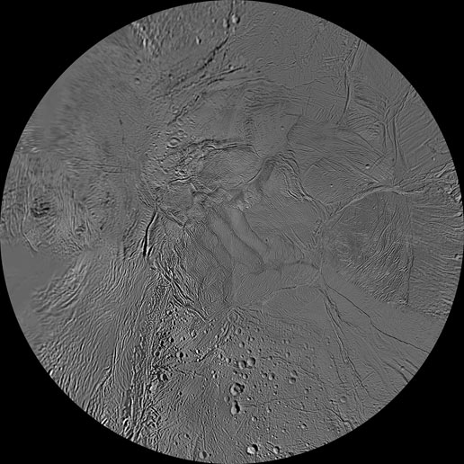updated mosaic of the southern hemisphere of Saturn's moon Enceladus