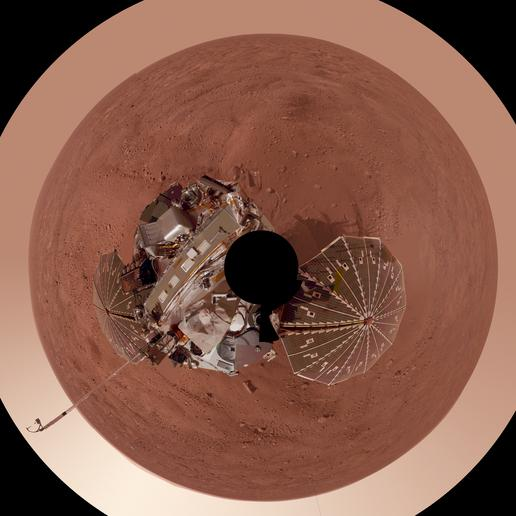 Phoenix Lander on Mars with Surrounding Terrain, Polar Projection