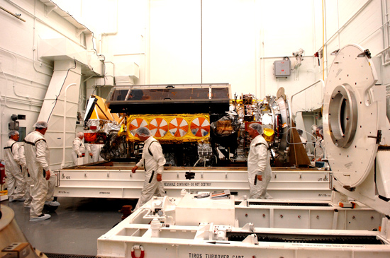 image of NOAA-N Prime satellite being unpacked