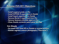 Russian EVA #21 Objectives