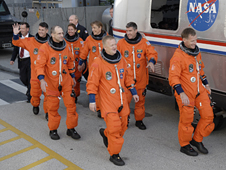 The STS-126 crew departs for Launch Pad 39A.