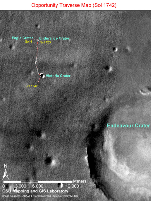 Opportunity Sol 1742 Traverse Map with Endeavour Crater