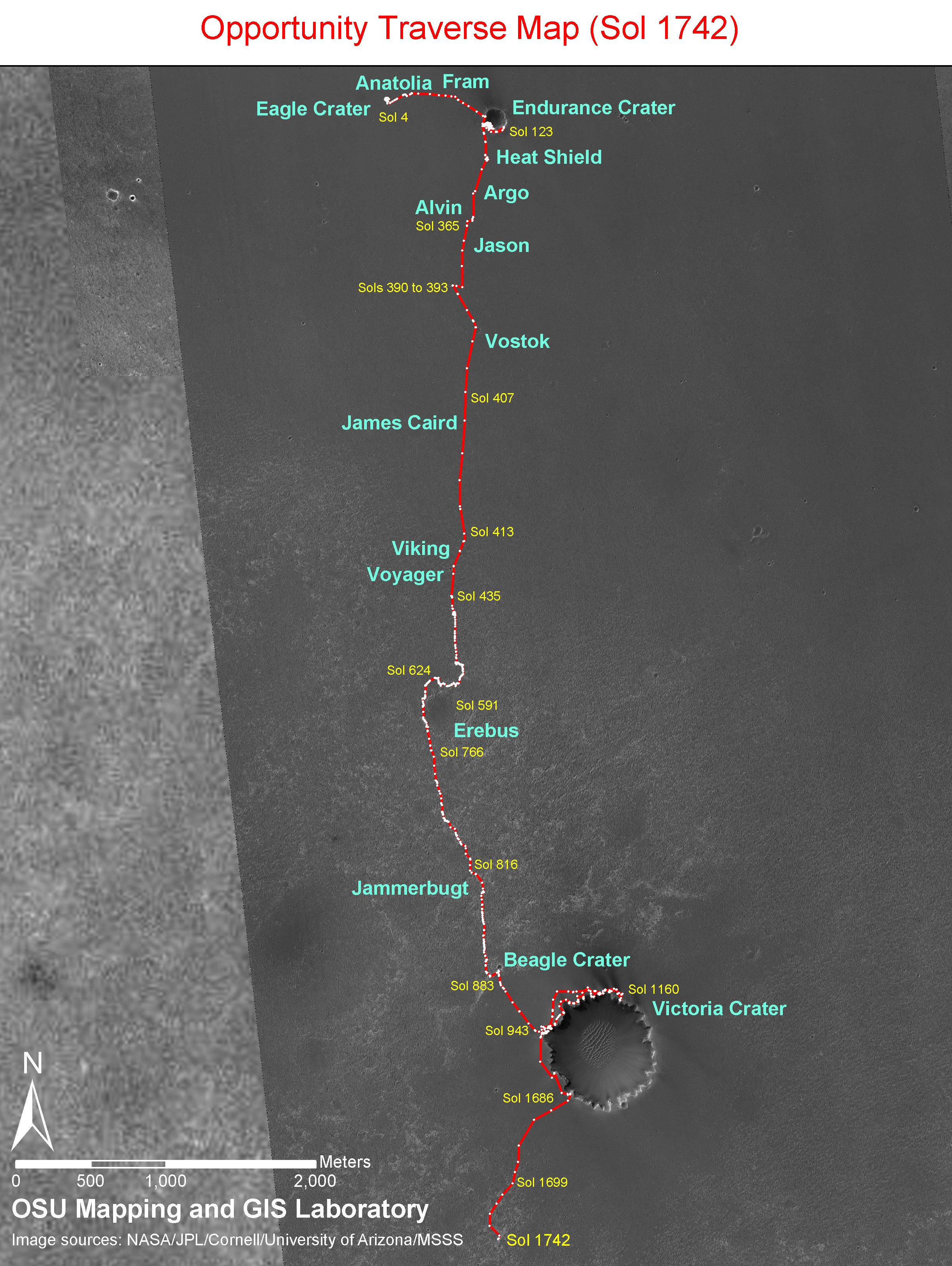 NASA - Opportunity Sol 1742 Traverse Map