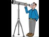 Cartoon of Dr. Marc Rayman looking through a telescope