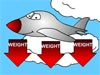 Cartoon airplane flying in a cloudy sky with red arrows pointing down with the word WEIGHT on each of them