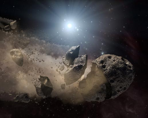 Artist concept of a 'white dwarf' surrounded by a disintegrating asteroid