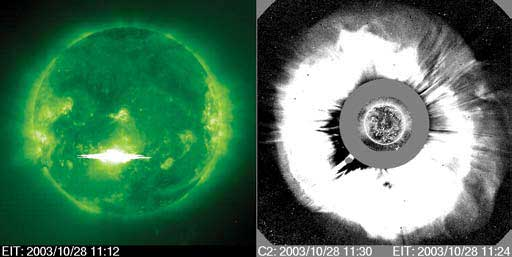 In 2003, this flare, left, is followed immediately by an enormous interplanetary blast wave, right, called coronal mass ejection or CME that propagates rapidly away from the sun towards Earth.