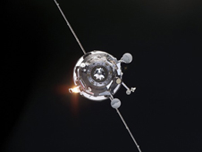 ISS015-E-08028 --- An unpiloted Progress supply vehicle approaches the space station