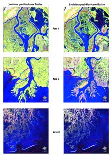 The images on the left are from Aug. 30, 2008 and images on the right are from Oct. 1, 2008, a month after Hurricane Gustav made landfall near Houma, LA on Sept. 1.