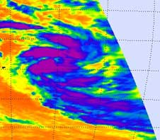 AIRS infrared image of Tropical Cyclone Dongo from Jan. 12, 2009