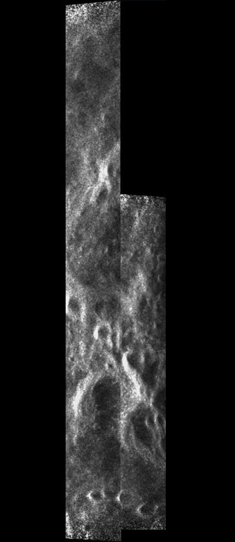 The two north-polar strips have been mosaicked to show the western rim of Seares crater.