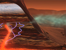 artist concept of possible Mars methane source