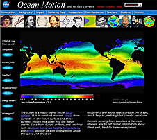 A screenshot of the Ocean Motion Web site featuring a sea surface temperature map