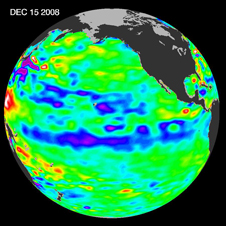 Jason-1 satellite image of sea surface height from Dec 15, 2008 showing La Niña