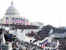 Panoramic image of President Obama's inaugural address at the U.S. Capitol on Jan. 20, 2009.