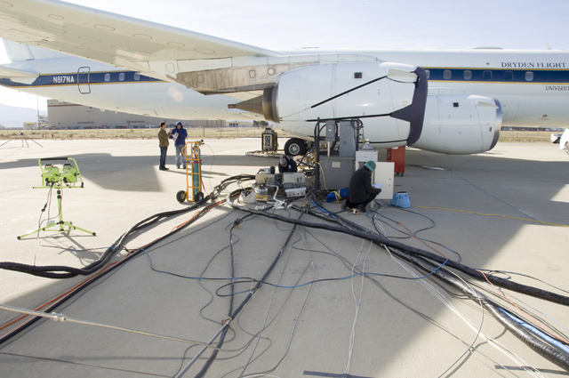 NASA's DC-8 attached to a maze of wires and tubing that connects data-collection instrumentation to control centers.