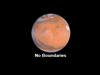 The planet Mars above the words No Boundaries