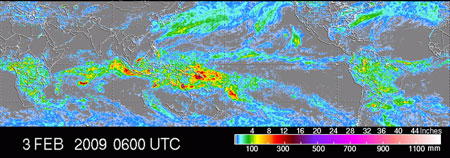 Global accumulation of rainfall map from TRMM