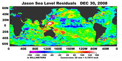 Image showing sea surface height data around the world as of December 30, 2008