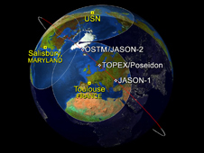 The Jason-1, Topex/Poseidon, and OSTM/Jason-2 satellites on January 28, 2009