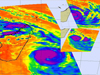 Collage of satellite images of Gael's cloud temperatures show the storm's movements between La Reunion Island and Madagascar