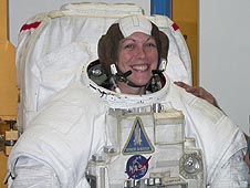 Heather Paul in a spacesuit