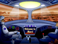 Cartoon of two children sitting inside a spacecraft on the planet Mars