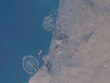 ISS018-E-024414 -- Artificial island sites off the coast of Dubai