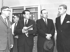 The members of the House Committee on Science and Astronautics visited the Marshall Space Flight Center on March 9, 1962. Pictured left-to-right are Dieter Grau and Konrad Dannenberg, Marshall Space Flight Center; James G. Fulton, Republican representative for Pennsylvania; Joe Waggoner, Democratic representative for Louisiana and Dr. Wernher von Braun, Director of Marshall. Photo Credit: NASA/MSFC