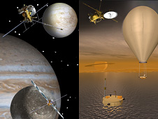 artist concept of two outer planet missions