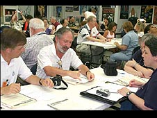 A group of educators participate in a workshop