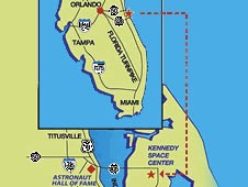 Map showing location of Kennedy Space Center Visitor's Center in Florida