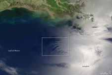 This wide area view of the Gulf of Mexico was taken by the Terra satellite on May 13, 2006.