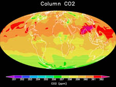 sources and sinks change CO2 in space and time