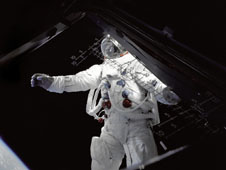 Astronaut Russell Schweickart during the Apollo 9 mission