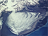 The Malaspina glacier in Alaska as viewed from space