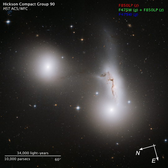 Hubble image of trio of galaxies