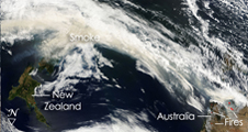 MODIS data showing smoke moving off the coast of Australia.