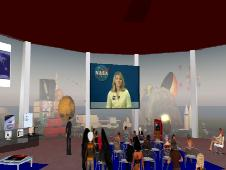 A crowd watching a live video event at eEducation Island in Second Life.