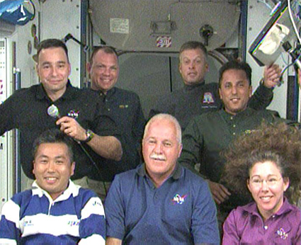 Shuttle and station crew members