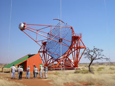 The four identical telescopes of the High Energy Stereoscopic System in Namibia detect faint atmospheric flashes caused by the absorption of ultrahigh energy gamma rays.