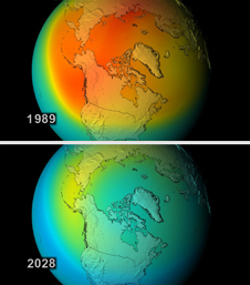 Northern Hemisphere ozone levels in a worst-case simulation