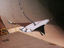 BWB model during free flight tests at NASA's Langley Research Center.