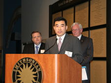 Dr. Jaiwon Shin, associate administrator for NASA aeronautics (center); General Jack Dailey, director of the Smithsonian (right); Tim Keating, senior vice president of public policy for Boeing (left)