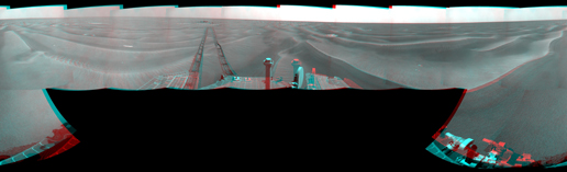 NASA's Mars Exploration Rover Opportunity used its navigation camera to take the images combined into this stereo, full-circle view of the rover's surroundings