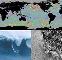 on top, Satellite data shows waves developing in Pacific; on bottom left, two days later, a surfer at Half Moon Bay, Calif. rides those waves; at bottom right, Radarsat shows the swell one day after the surfer rode them