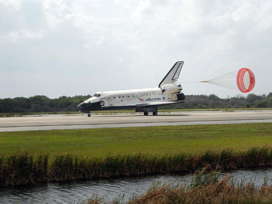 during a space shuttle landing a parachute deploys - photo #25