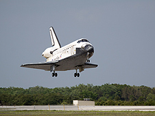 Discovery lands at Kennedy Space Center concluding the STS-119 mission
