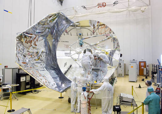 cleaning of Herschel telescope